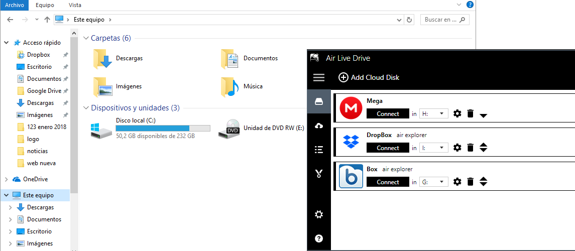 Air Live Drive - mounts cloud drives as local disks in your