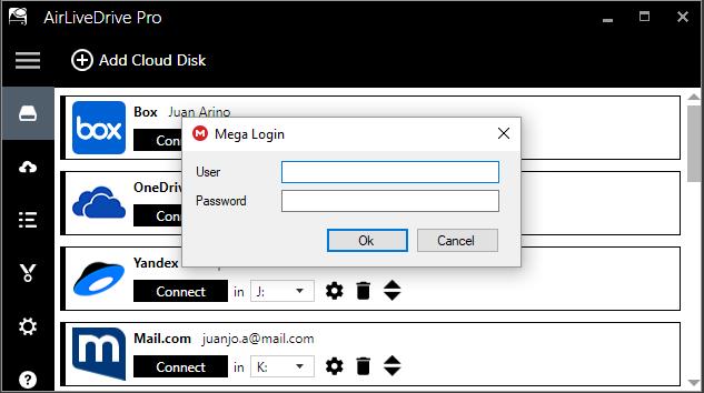 Add cloud disk window of Air Live Drive